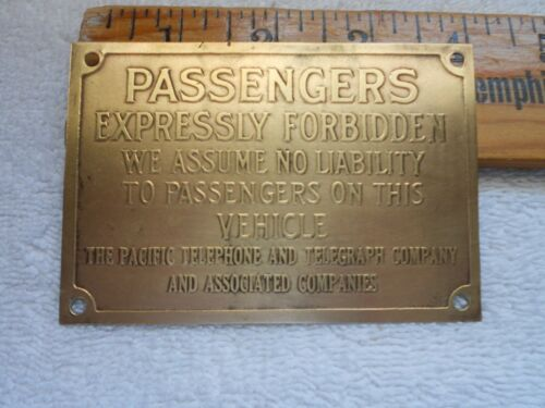 Phone Truck DASH PLAQUE Pacific Telephone & Telegraph Co Model T A Ford Old