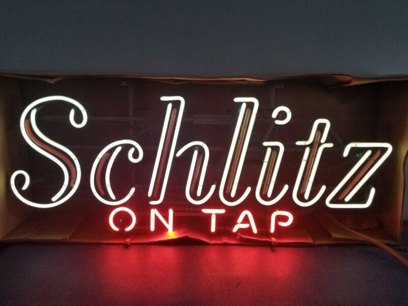 (VTG) 1968 Schlitz beer on tap neon light up sign motion moving flashing org box