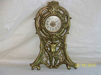 Antique Western Clock Mfg. Art Nouveau Metal Mantle Clock