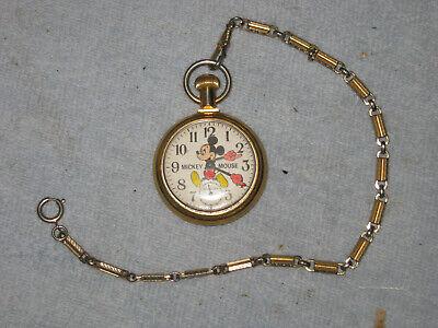 Mickey Mouse© 1970s Vintage Bradley Winding Pocket Watch W/ Train Walt Disney VG