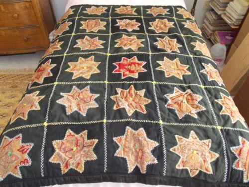 "Antique Star Quilt with Applique Design, 54"" x 45"",  Attractive"