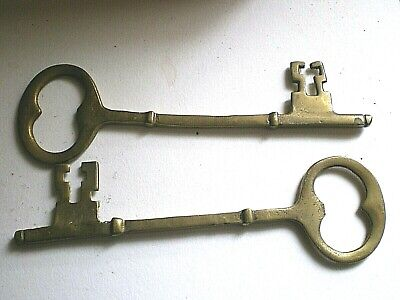 2 Large Vintage Old Brass Keys  Collectible Wall Art Display Decorative