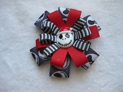 Hair Barrette Clip Handmade Jack Skellington Christmas Bow Great Gift New