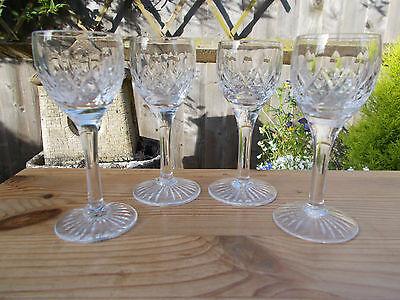 SET OF 4 x STUART CRYSTAL GLENCOE LIQUEUR / CORDIAL GLASSES ~ SIGNED