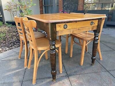 Antique English  table circa late 1800s and 4 James Richardson chairs