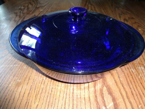 "Anchor Hocking Cobalt Blue Ovenware 2 Qt 9"" Round Casserole Baking Dish w/ Lid"
