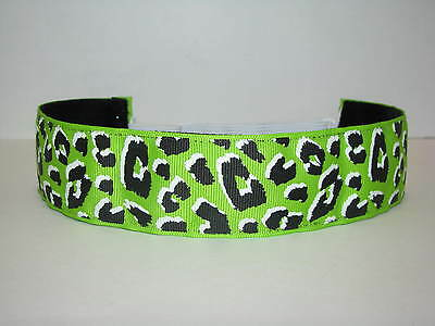 WIDE NEON GREEN LEOPARD Headband adjustable non slip Sweaty Sports Hair Bands