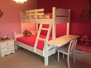 Custom made bunk bed, single over double with desk