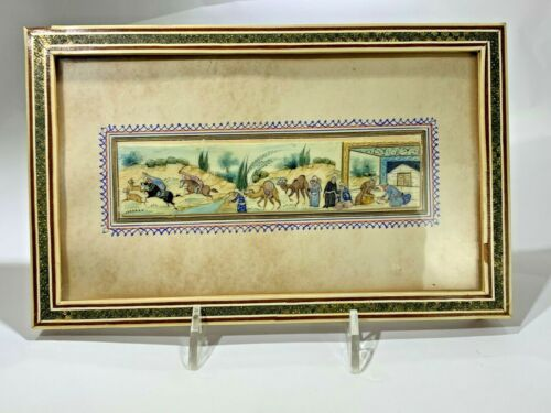 """ANTIQUE PERSIAN MINIATURE HAND-PAINTED PAINTING ON CAMEL BONE """"OASIS"""""""
