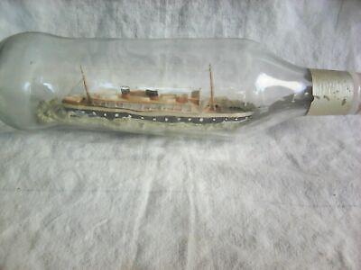 Vintage cargo-Ship in bottle-unnamed vessel