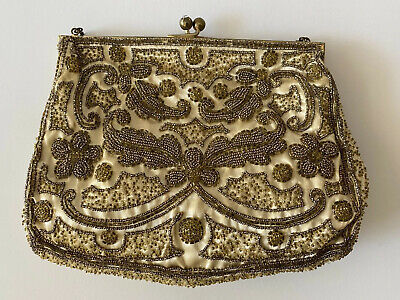 1920s Handbags, Purses, and Shopping Bag Styles Gold Vintage Antique Beaded Handbag Purse 1920s 30s Century Hand Made In France $73.50 AT vintagedancer.com
