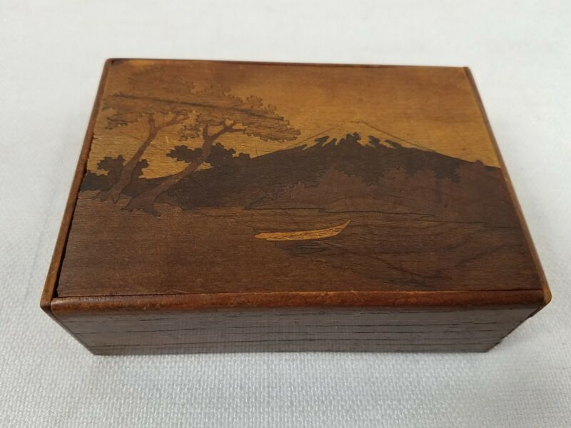 Vintage Japanese Mt Fuji Box Inlaid Marquetry Wood Puzzle Box As Is