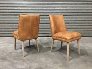 NEW LEATHER CHAIRS: EINSTEIN LIGHT BROWN TONE WELL-PADDED SMART Leumeah Campbelltown Area Preview