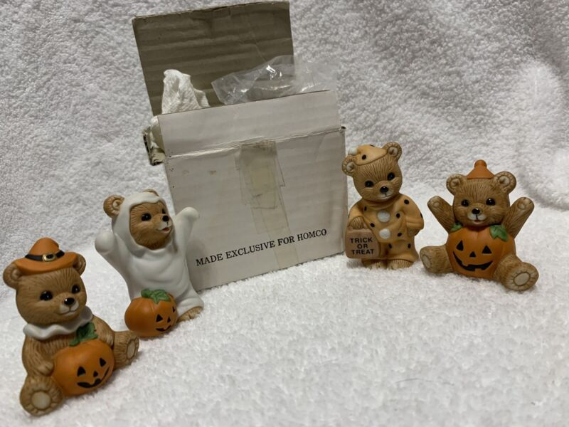 Vtg Homco Halloween Bears,  Porcelain Figurines~Trick-or-Treat Set of 4 #5311