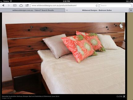 Railway Sleeper Recycled Timber Wood Queen Bed Modern Rustic Stanmore Marrickville Area Preview
