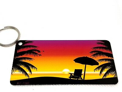 Beach Party Ideas (Sunset beach chair keychain metal 1.5 X 3 gift idea Party stocking stuffer)