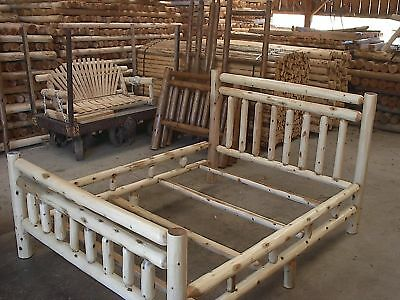 Cedar Twin Size Bed - Rustic White Cedar Log Twin Size Bed- Amish Made in the USA