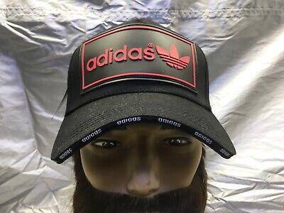 adidas Originals Trefoil Strapback Baseball Cap Hat Lid Brim Dad Black w/Red