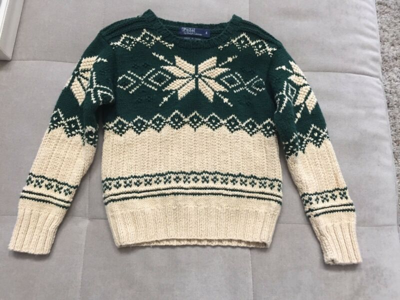 Polo Ralph Lauren Boys Olympic Collection Sweater Size 4 Beige Green ThickCotton