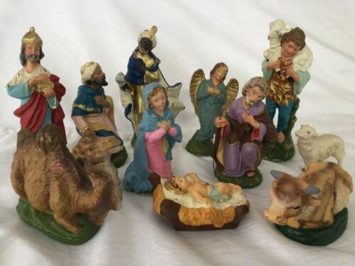 Vintage Italy Christmas Nativity Figures 11 Composition Papier Mache
