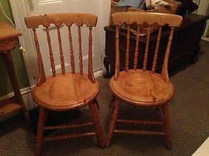 2 Sturdy Antique Gunstock Chairs