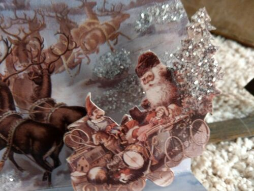 Vintage Victorian Christmas Santa Sleigh glittered easel card with envelope