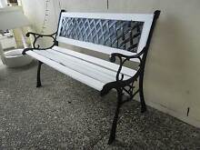 Garden Bench Seat Black Wrought Iron & White Timber Panels Mango Hill Pine Rivers Area Preview