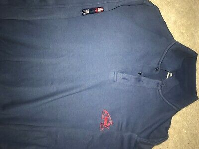 VINTAGE PUMA POLO SHIRT LARGE NAVY BLUE LARGE LOGO ON SLEEVE