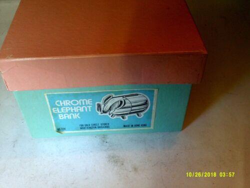 VINTAGE RETRO CHROME ELEPHANT BANK UNUSED IN BOX
