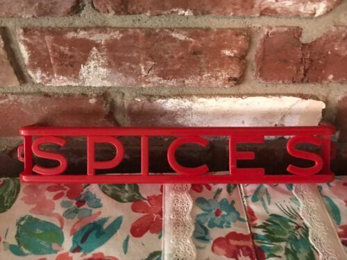 Vintage Red Lustro Ware Plastic Wall Mount Spice Rack shelf w/ Paper Label