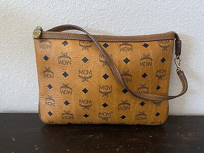 MCM Wristlet Brown Monogram Pouch Bag
