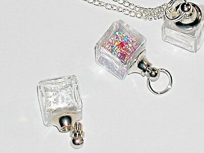 1 small Ice Cube Glass Crystal Bottle fairy dust Locket vial Screw cap top 11mm*