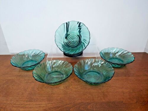 JEANNETTE PETAL SWIRL ULTRAMARINE BOWL SET OF FIVE- BEAUTIFUL - 1937-1938
