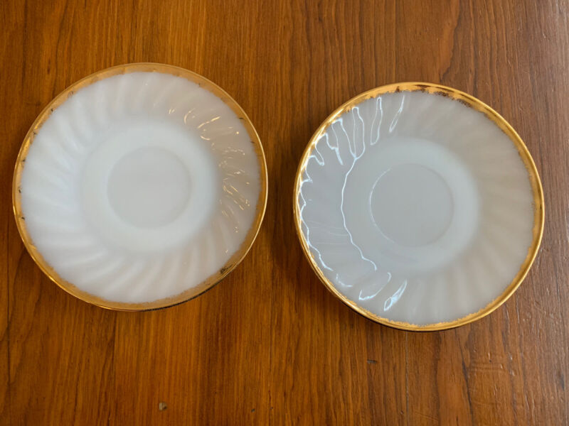 2 Vintage Fire King Saucers - White Swirl with Gold Trim