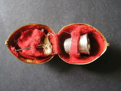 Vintage Walnut Shaped Metal Sewing Kit ~ Thimble ~ Gold Colored