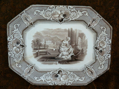 "Antique Large Brown Ironstone J. Clementson ""SYDENHAM"" Platter ~ 16"""