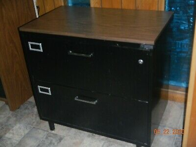 2-drawer Lateral File Cabinet All Steel Black With Wood Grain Top Lockable