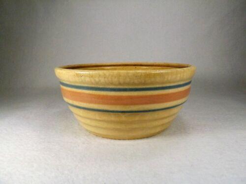 Vintage McCoy Pottery Serving Bowl Blue & Pink Banded Mixing ,Pot , Bowl Lidded