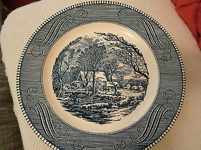 Vintage Currier & Ives The Old Grist Mill Underglaze Print by Royal Dinner Plate