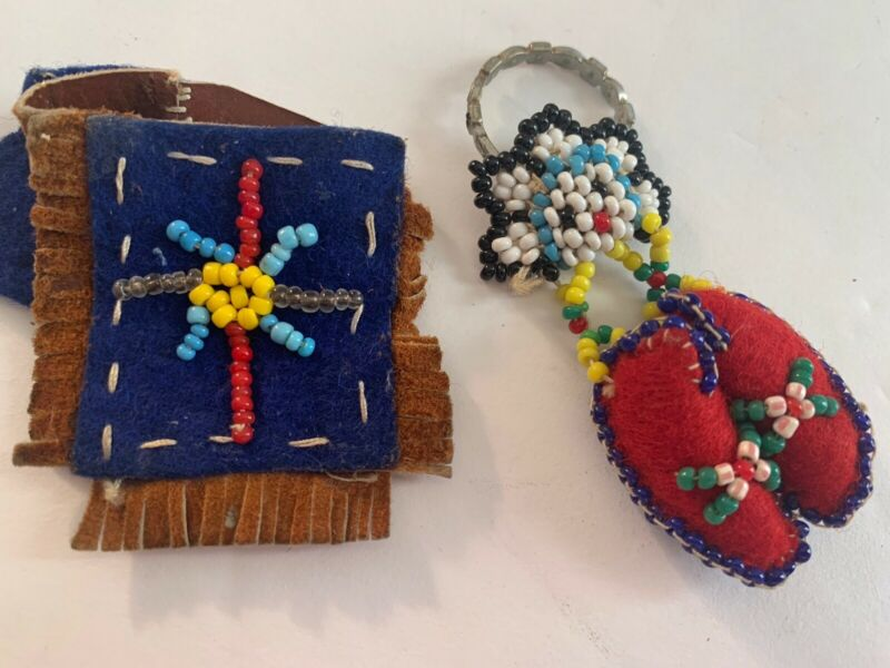 Boy Scouts Vintage 1950's Hand Beaded Scarf Slides Lot Of 2 (e)