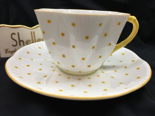 SHELLEY  DAINTY  YELLOW  POLKA DOTS  *  CUP AND SAUCER  *  WOW!