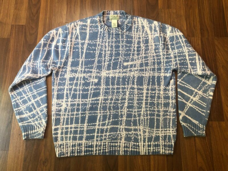 Vintage LL Bean Reverse Dyed Cotton Sweater Bleach Dyed - One of a Kind - L / M