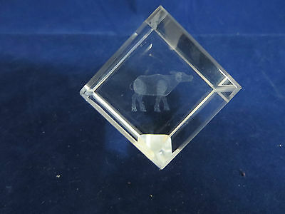 3D Laser Etching Cow Crystal Cube in Box