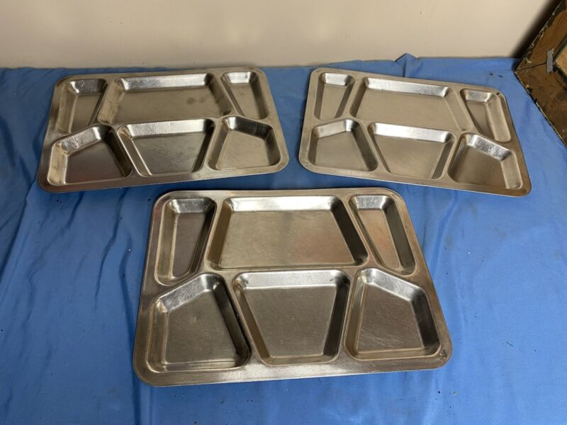 Vtg Stainless Steel Metal US Military Mess Hall Prison Food Tray Jail Lot 3