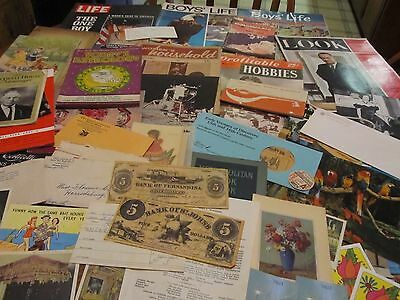 HUGE LOT OLD VINTAGE EPHEMERA PAPER ITEMS CARDS PHOTOS BOOKLETS