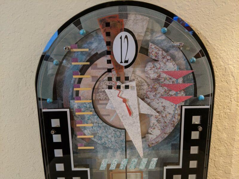 Signed Abstract Postmodern Memphis Style Clock Urban Pop Studio Art Post Modern