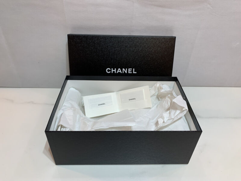 """Authentic Chanel Empty Storage Box 13"""" x 8.5"""" x 5"""" with Chanel Booklet"""