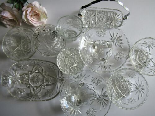 Vintage 14 Pc EAPG Star David Misc Lot Relish Butter Berry Footed Coaster Cream