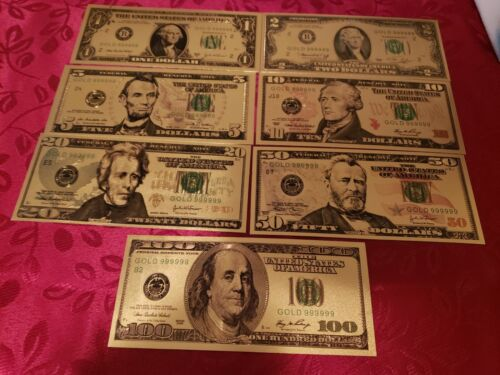 US Dollar Bills Lot of (7) Gold & Green Colorized Money 1,2,5,10,20,50,100