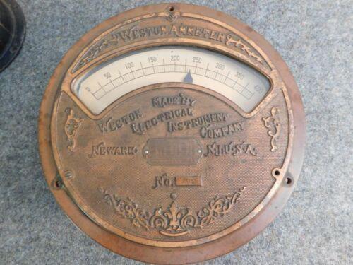 Antique Weston Electric Ammeter COPPER FACE PLATE
